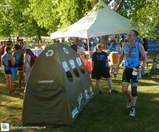 Triceratops Tri 2017 - runner checking out the tent 2