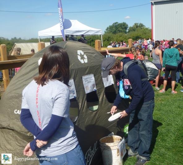 Scrumpy 2017 - Volunteer helping runner at tent - 2