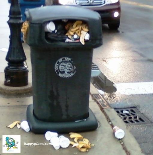AA Turkey Trot 2016 - Overflowing trash bin