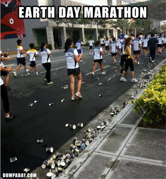 Earth Day Marathon mem - cups in road