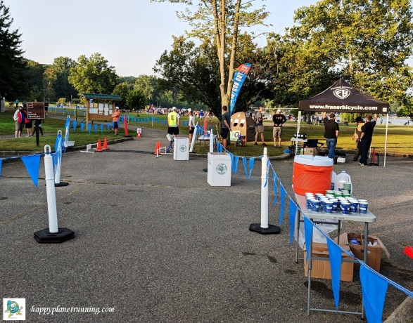 Ann Arbor Triathlon 2018 - Bins and tent at Run Out
