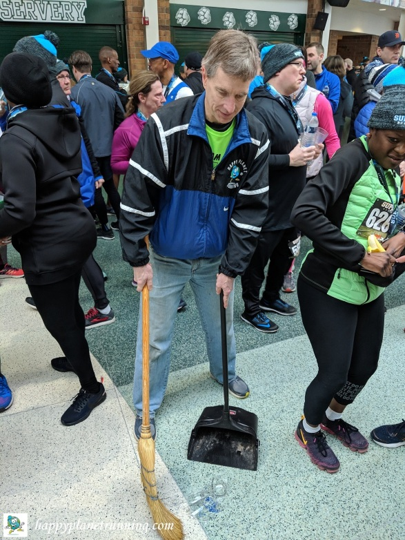 Super 5K 2019 - Me sweeping up broken glass