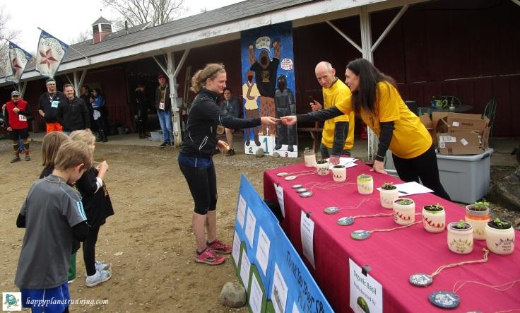 Upland Hills 10K 2019 - Robin accepting her handmade awards