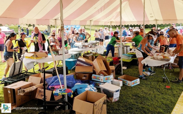 Swim to the Moon 2019 - Food tent gets busy and stuff piles up