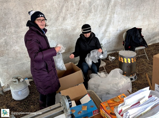 Bonfyre 2019 - sorting the plastic bags with paper tags in them