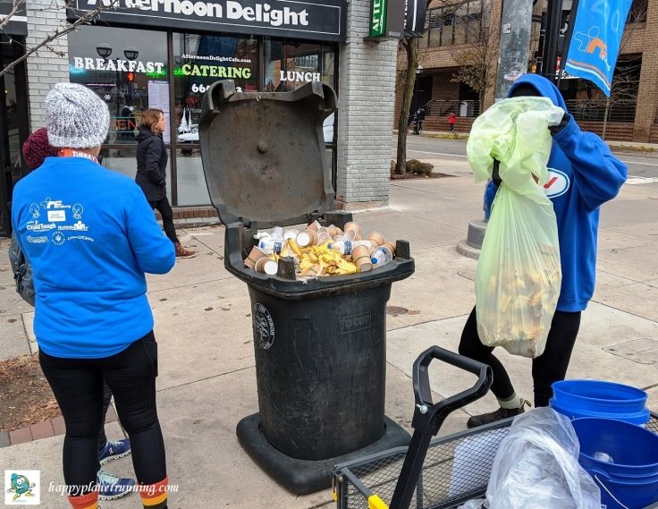 RF Turkey Trot 2019 - Trash can at Fifth and Liberty full of race waste